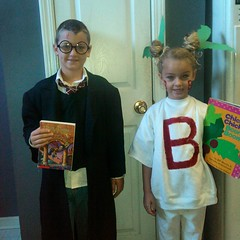 "Last minute costumes for book character day-- Brett is Harry Potter & Brooklyn is ""The B in the coconut tree from ChickaChickaBoomBoom"" haha"