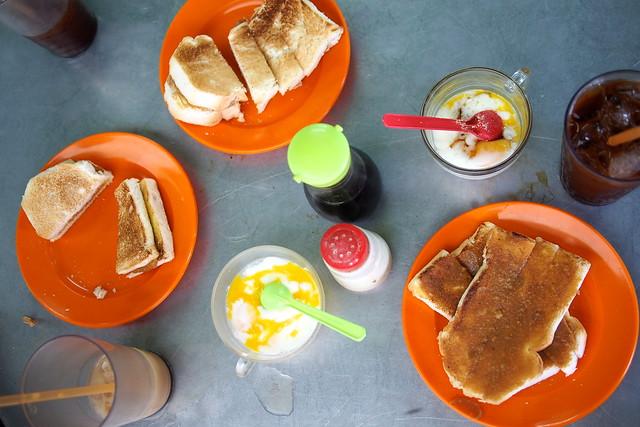 kaya toast, soft-boiled eggs, tea and coffee, Toh Soon Cafe, Georgetown, Penang, Malaysia