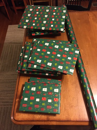Christmas books wrapped for Advent countdown