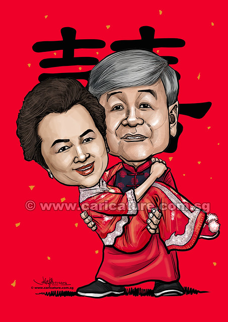 digital traditional Chinese wedding couple caricatures (watermarked)