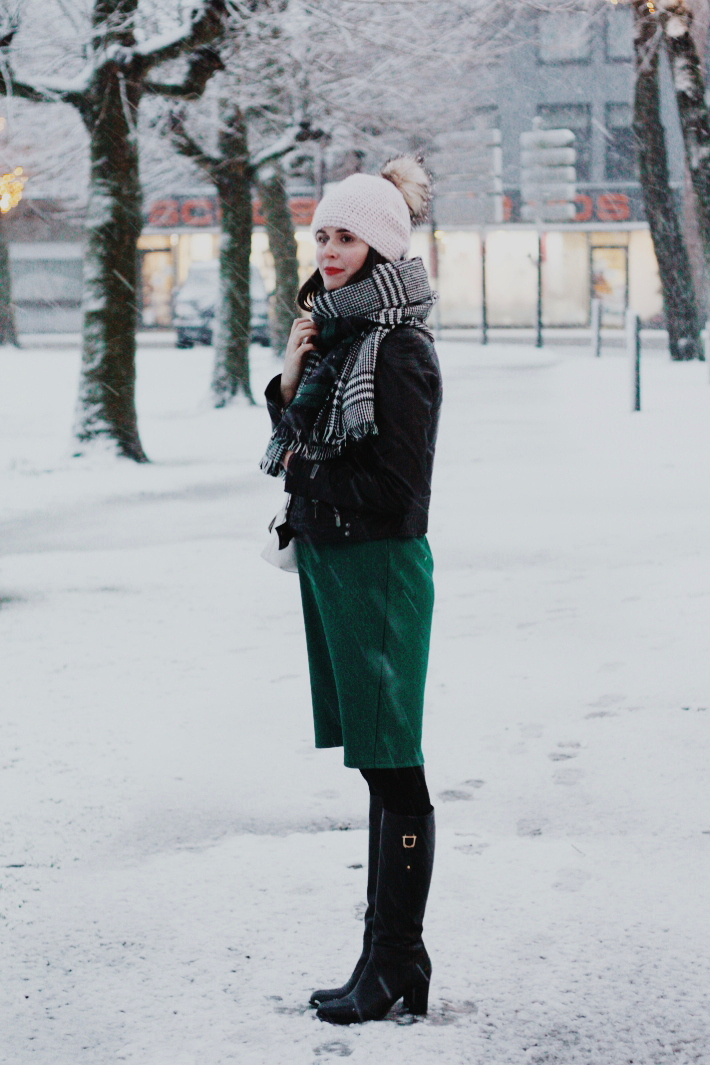 plaid scarf, snow, pom pom hat, knee high boots