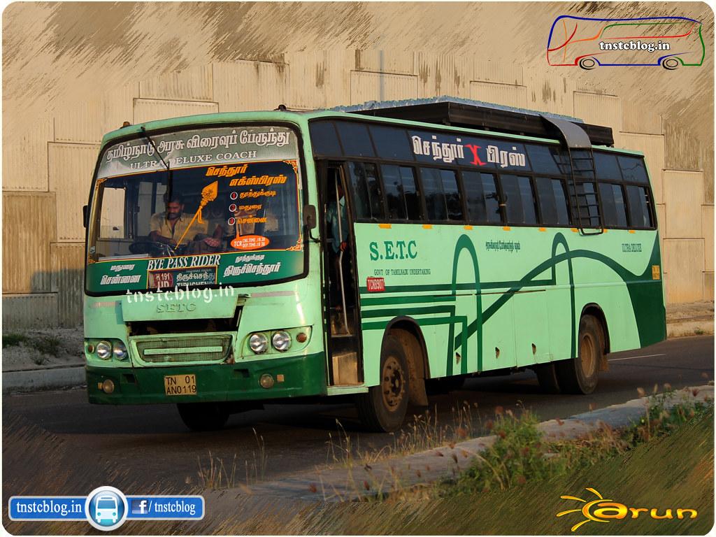 TN-01AN-0119 ( TCN B 907 ) of Thoothukudi Depot Route 191UD Thiruchendur - Chennai via Thoothukudi, Madurai.