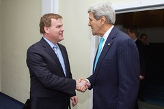 U.S. Secretary of State John Kerry shakes hands with Canadian Foreign Minister John Baird before the two hold a bilateral meeting on January 24, 2015, on the sidelines of the World Economic Forum in Davos, Switzerland. [State Department Photo/Public Domain]