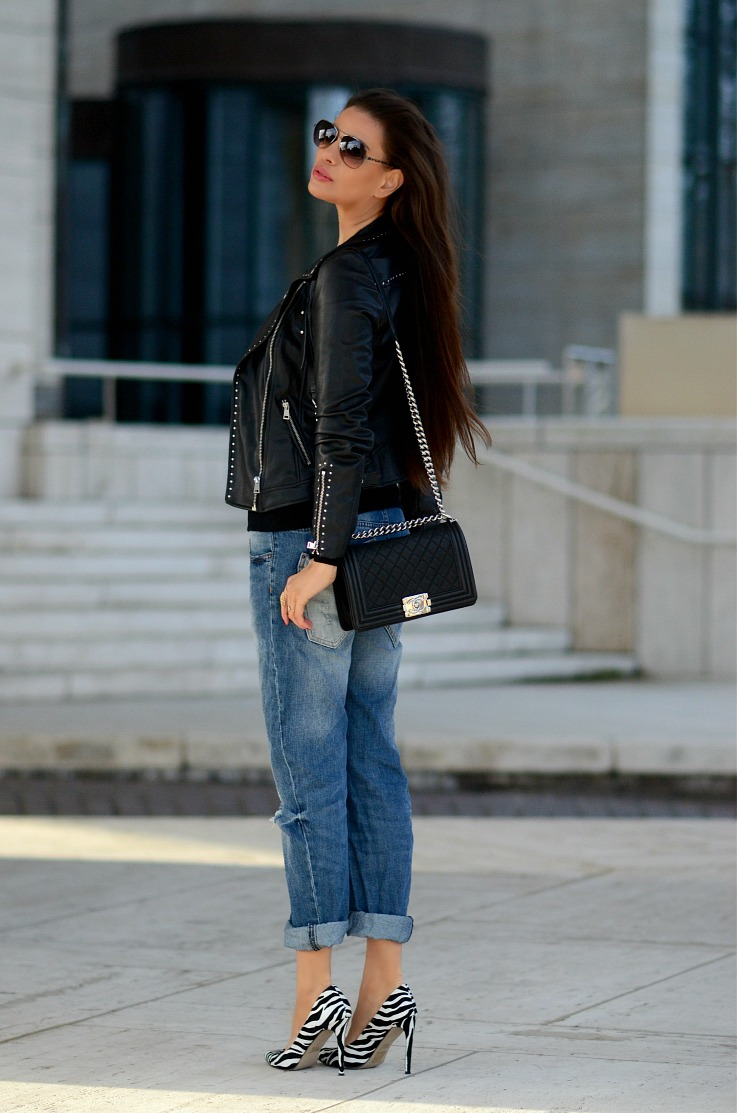 DSC_1596 Tamara Chloé, Chanel Boy Bag, Boy friend Jeans, Zara Black biker jacket