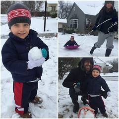 this year's #snowday was much more successful than Graham's year one discovery that the white stuff is cold! (:tired_face:) we had just enough to slide a toboggan and build a snowblob. Give us an inch, we'll stomp all over it! :smile::snowflake::snowman:️
