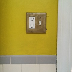 We bedazzled in gold, too. #bathroomredo #gold #isthatspraypaint? #switchplate