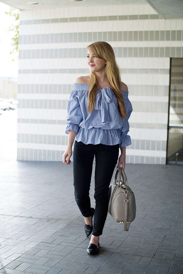 boohoo striped off the shoulder blouse