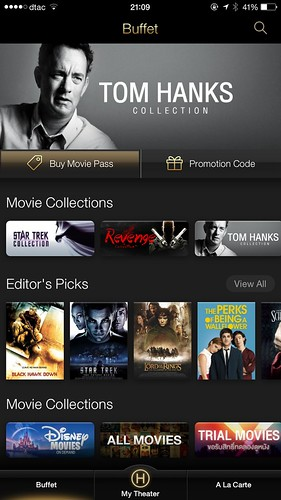 หน้าหลักของ Hollywood HDTV บน iPhone 6 Plus