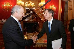 Deputy Secretary of State Antony 'Tony' Blinken is greeted by French Foreign Minister Laurent Fabius before their bilateral meeting, where they discussed Ukraine, Iran, ISIL, and more at the Quai d'Orsay in Paris, France, on March 2, 2015. [State Department photo/ Public Domain]
