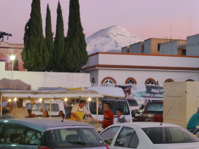 The sun sets in Amecameca