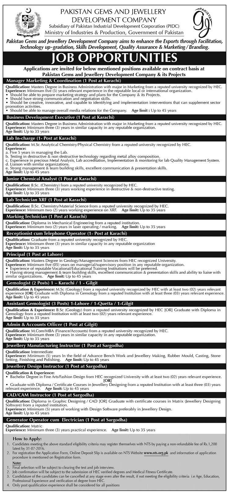 Pakistan Gems and Jewellery Development Company Jobs 2016