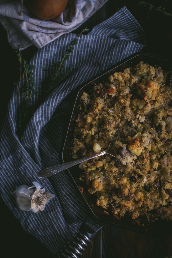 Cast Iron Cornbread Stuffing With Leeks, Sausage, & Pears