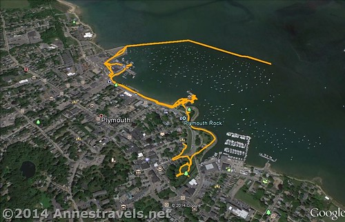 A visual map of my time in Plymouth, MA...the jetty is on the upper left of the yellow track