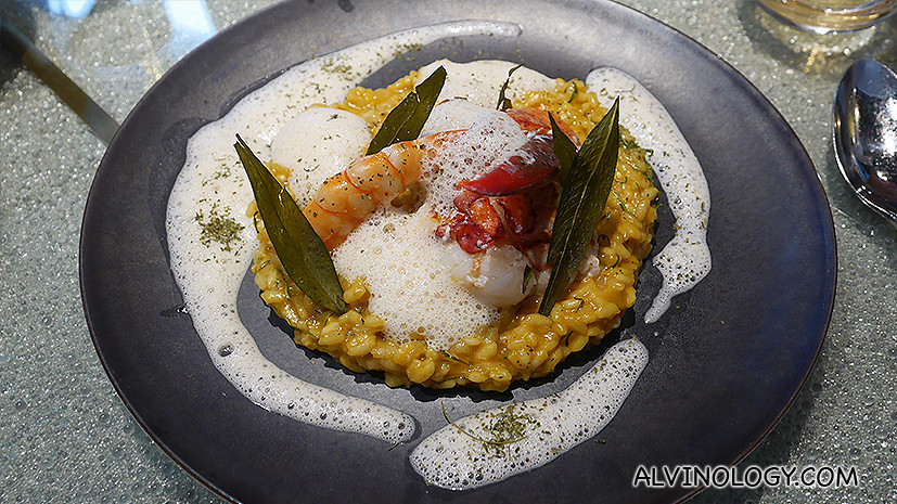 Lobster and scallops laksa risotto