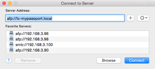 Mac - Connect to Server