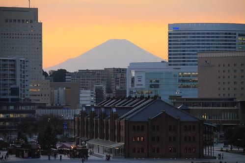 sunset japan yokohama kanagawa mtfuji