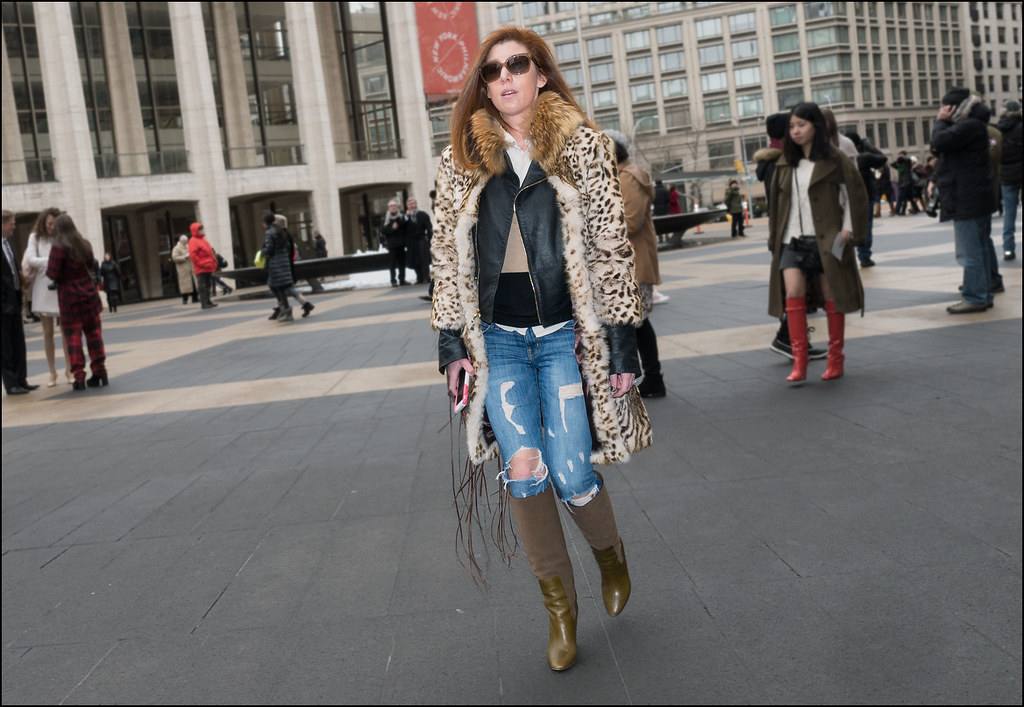 FW2-15  14w fur coat over leather jacket tattered jeans knee high od boots