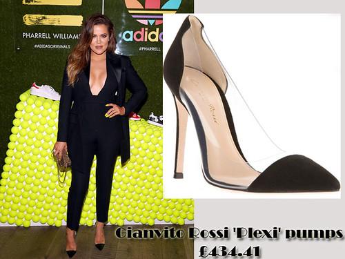 Khloe Kardashian in Gianvito Rossi 'Plexi' pumps & plunging neckline jumpsuit