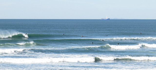 Surfers at Ocean Beach, San Francisco; November 17, 2014