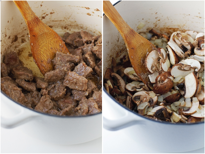 Beef Stew with Mushrooms over Egg Noodles - An easy to make stew with just a 20 minute prepwork! #stew #pasta #beefstew #dutchoven   Littlespicejar.com