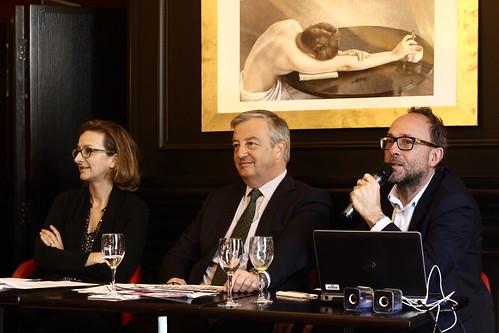 Christine de Mazières (SNE), Vincent Montagne (SNE), Bertrand Morisset (Reed Expo) - Salon du Livre de Paris 2015