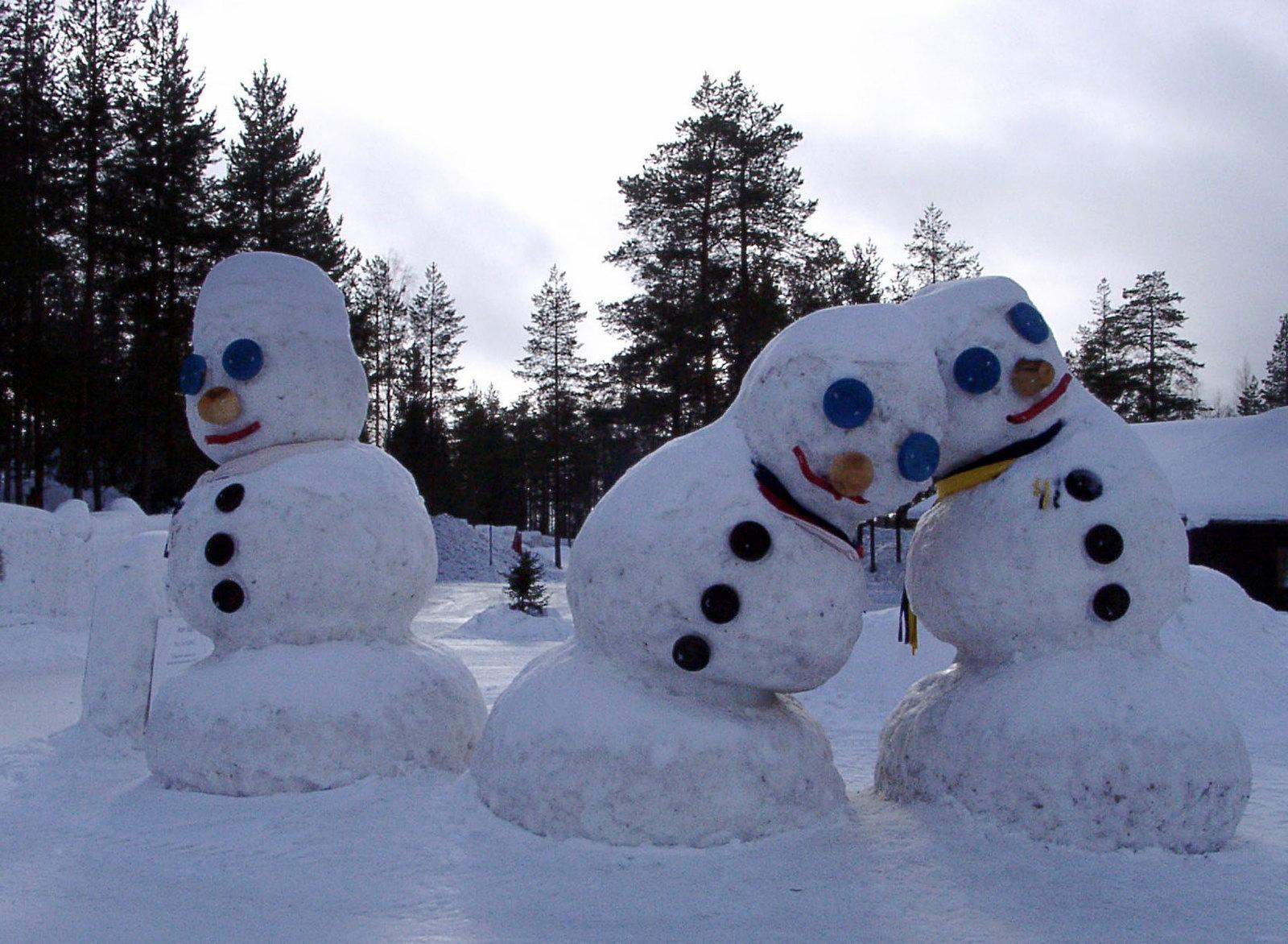 Snowmen in Rovaniemi, Finland