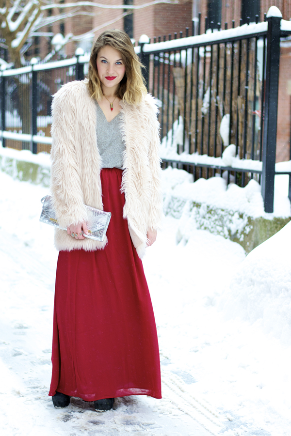 Fur coat and maxi skirt
