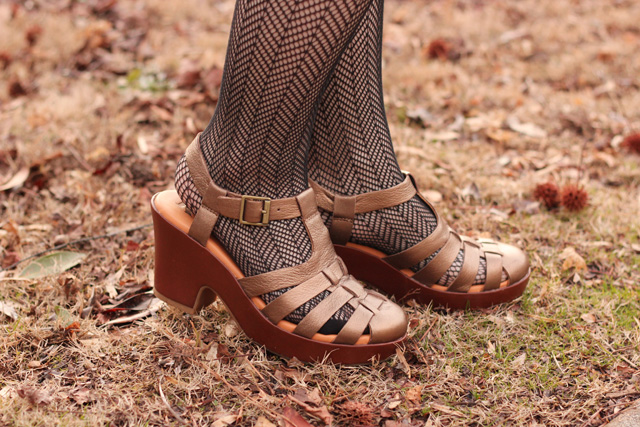 Herringbone Print Fishnets with Bronze Fisherman Sandal Heels