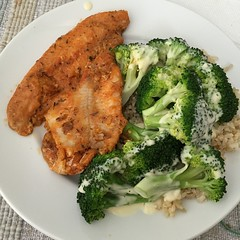 Cajun catfish, broccoli with hollandaise, and brown rice. Kid wanted to know what hollandaise was.