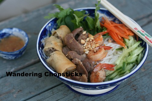 Bun Thit Heo Nuong, Tom, Cha Gio (Vietnamese Rice Vermicelli Noodles with Grilled Pork, Shrimp, and Egg Rolls) 11