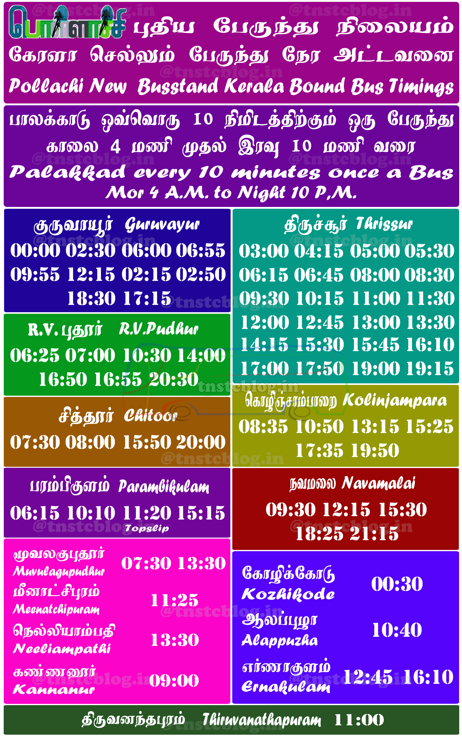Kerala Timings from Pollachi