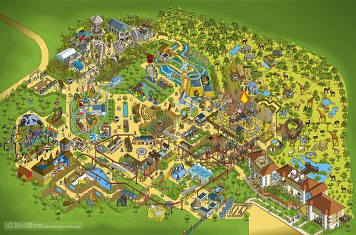 Chessington World of Adventures 2014 Theme Park Map Illustration by Rod Hunt - Original artwork with no information - Isometric Pixel Art Map Design