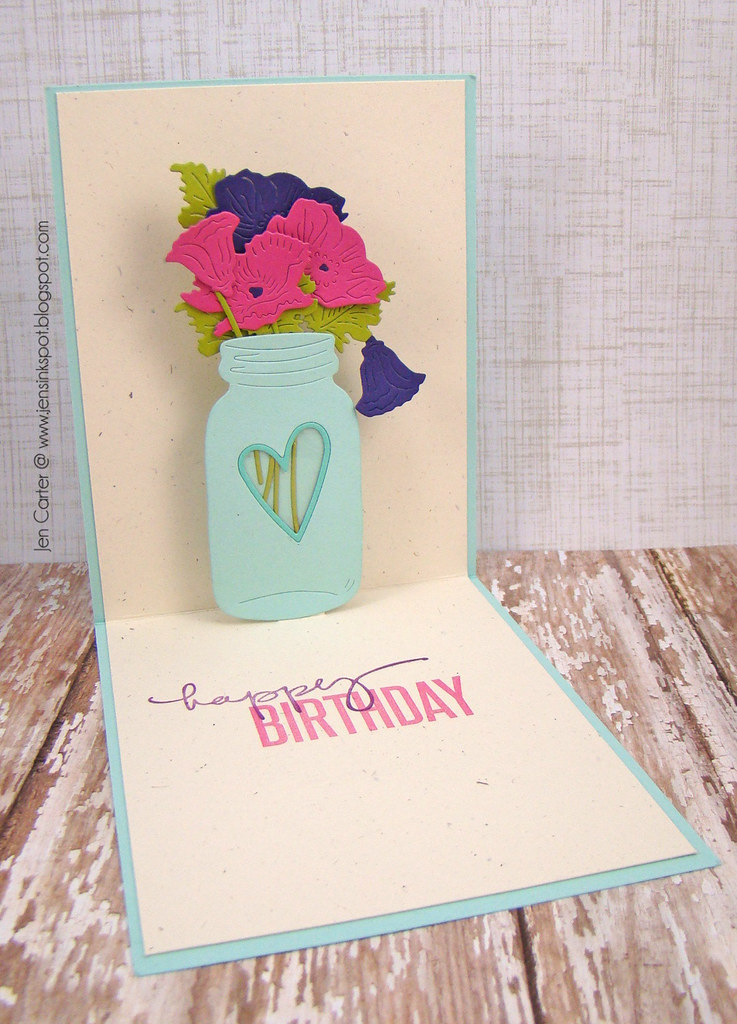 Jen Carter Frantic Stamper Pop Up Peonies Birthday Inside