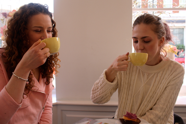 Nadene and Asta drinking tea at Peggy Porschen, London