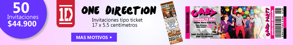 One direction invitaciones tipo ticket
