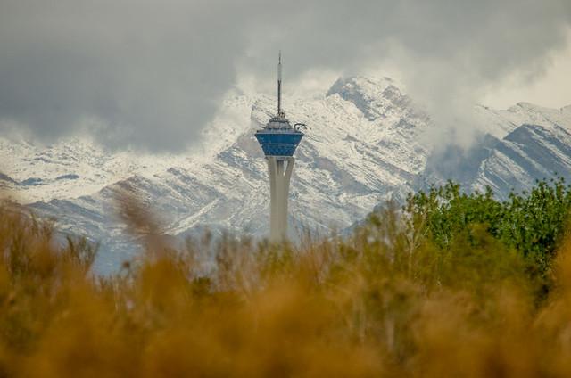 Stratosphere with snowy peaks behind