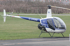 G-ORMB - 1990 build Robinson R22 Beta, visiting Barton for fuel