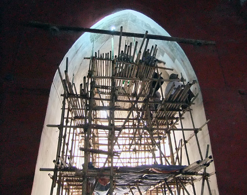 Scaffolding in Ananda Pagoda in Bagan, Myanmar