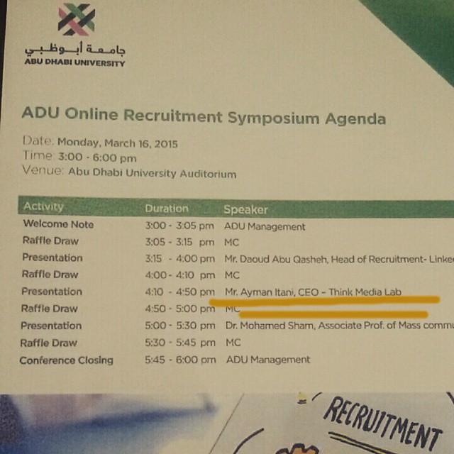 Speaking today at Abu Dhabi University Online Recruitment