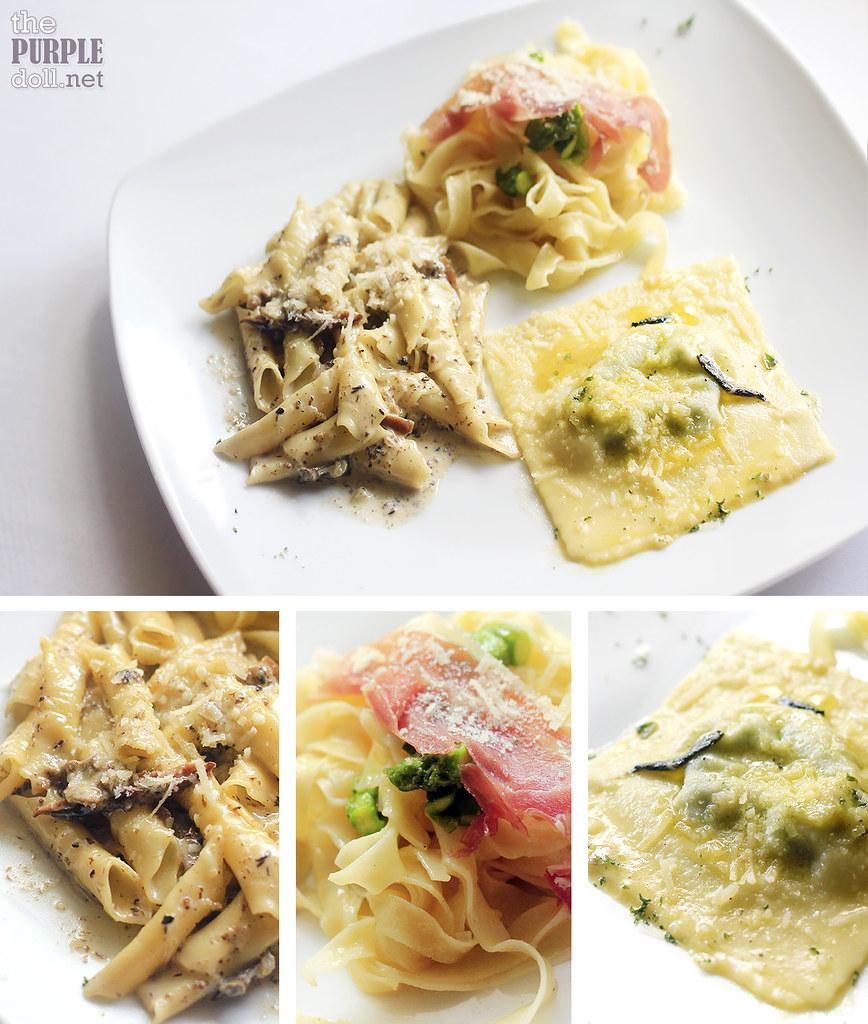 Trittico di Pasta Terra - Tagliatelle Tartufo, Garganelli Porcini, Ravioli Butter and Sage (P790)