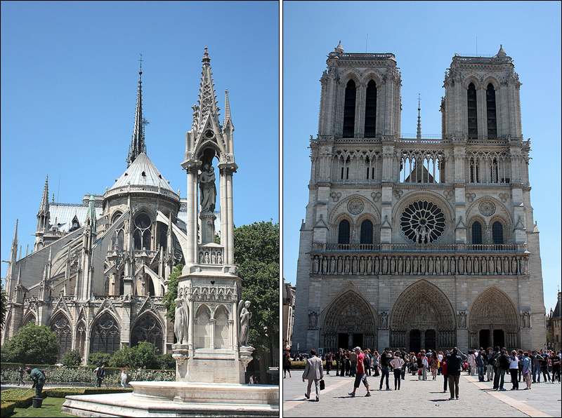 Notre Dame de Paris, buttresses and facade