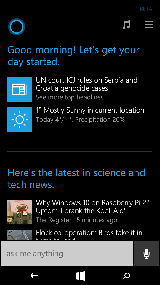 Cortana summary
