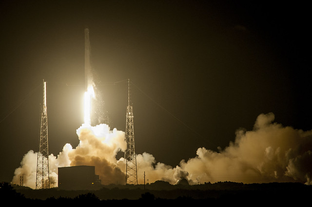 spacex, launch, night