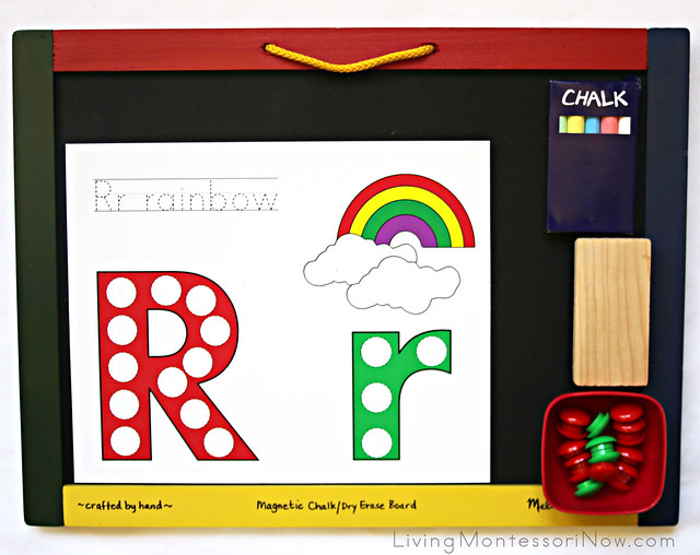 Rr is for Rainbow Magnet Activity and Chalkboard Writing