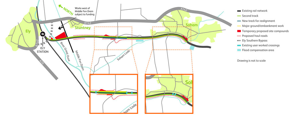 Proposed new rail lines with possible cycleway from haul roads
