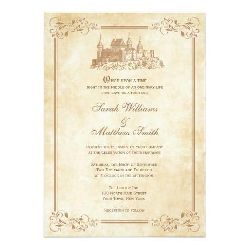 (Fairytale Castle Wedding Invitations) #Antique, #Castle, #Cinderella, #Fairytale, #FairytaleWedding, #Gold, #HappilyEverAfter, #OldWorld, #OnceUponATime, #Princess, #Storybook, #Vintage, #Wedding is available on Custom Unique Wedding Invitations store ht