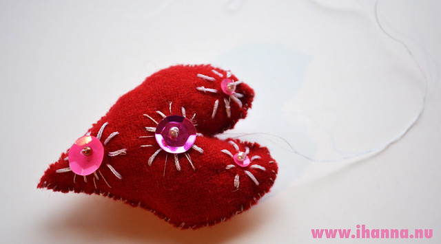 Red Wool Heart - pink side up