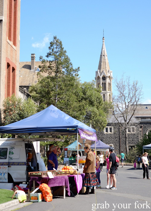 Market stalls at Abbotsford Convent Slow Food Farmers Market