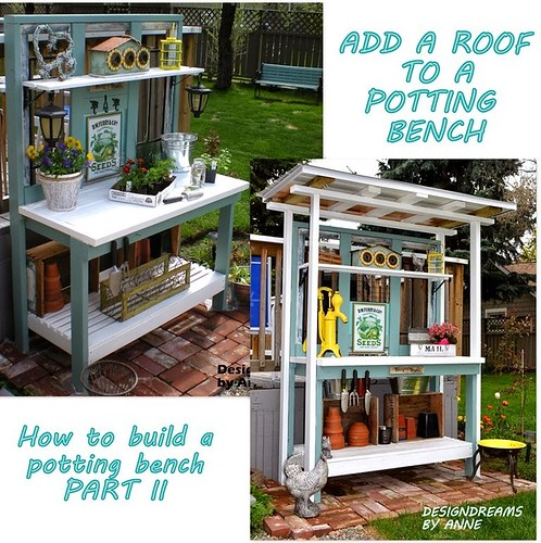 POTTING BENCH WITH ROOF b&a small