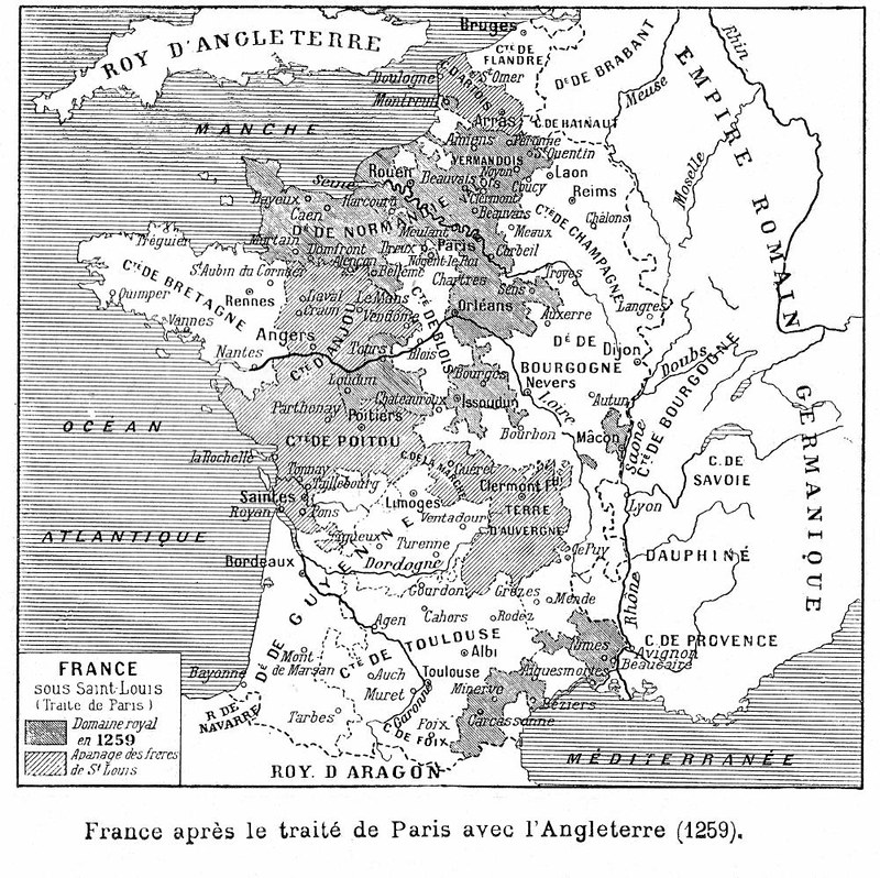 The territories gained by France by Treaty of Paris